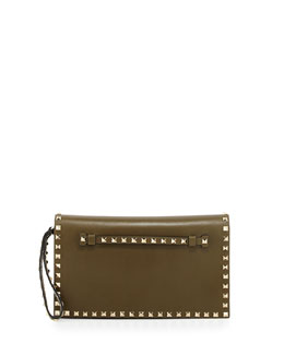 Valentino Rockstud Leather Flap Clutch Bag, Olive