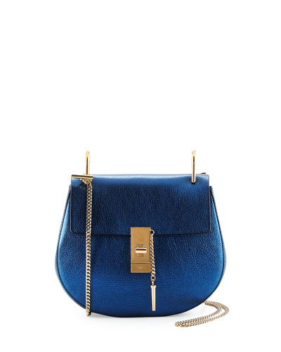 Drew Small Metallic Shoulder Bag, Blue