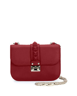 Valentino Rockstud Flap Small Shoulder Bag, Red