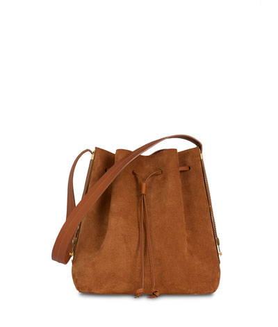 Gibson Suede Bucket Bag, Tan
