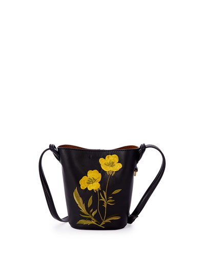 Flower-Embroidered Small Bucket Bag