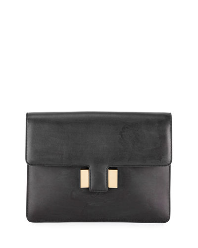 Sienna Large Leather Pouch Clutch Bag