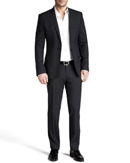 Dolce & Gabbana Martini Stretch-Wool Suit, Charcoal