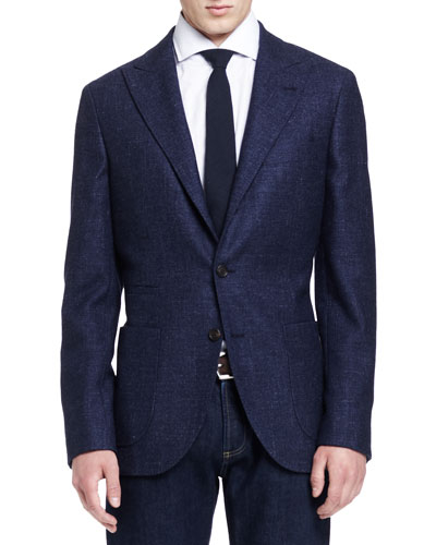 Flamed Peak-Lapel Jacket, Blue