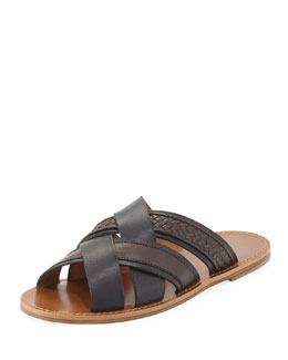 Bottega Veneta Woven Leather Crisscross Sandal, Navy/Brown