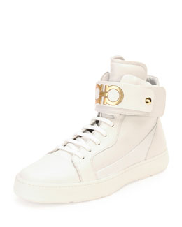 Salvatore Ferragamo Night High-Top Sneaker with Ankle Strap, White