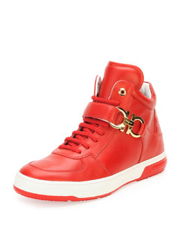 Salvatore Ferragamo Nayon High-Top Sneaker with Side Gancini, Red