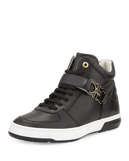 Salvatore Ferragamo Nayon High-Top Sneaker with Side Gancini, Black