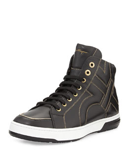Salvatore Ferragamo Nicky Stitched Gancini High-Top Sneaker