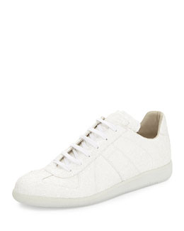 Maison Margiela Low-Top Glitter Sneaker, White