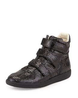 Maison Margiela Three-Strap High-Top Sneaker, Black Glitter