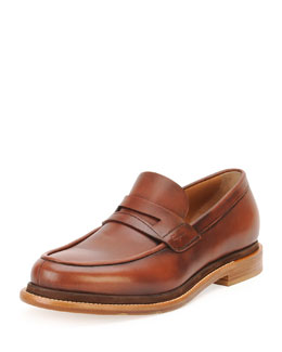 Salvatore Ferragamo Norway Calfskin Penny Loafer w/ Contrast Sole, Brown