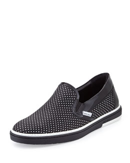 Jimmy Choo Grove Men's Polka-Dot Skate Shoe, Black/White