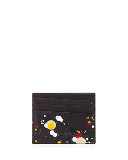 Maison Margiela Paint-Splatter Leather Card Case, Black