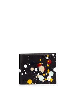 Maison Margiela Paint-Splatter Leather Wallet, Black