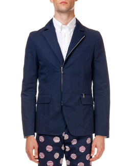 Zip-Up Cotton Blazer, Navy