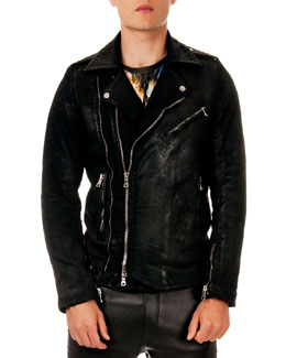 Balmain Coated Zip Biker Jacket, Black