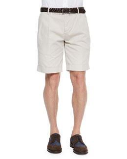 Brunello Cucinelli Woven Pleated Shorts, Oatmeal