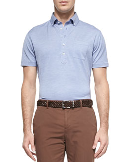 Brunello Cucinelli Fine-Knit Oxford Polo, Light Blue