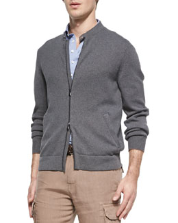 Brunello Cucinelli 7-Gauge Knit Bomber Sweater Jacket, Gray