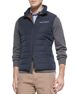 Brunello Cucinelli Nylon Zip-Down Vest, Navy