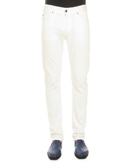 Tomas Maier White Five-Pocket Jeans