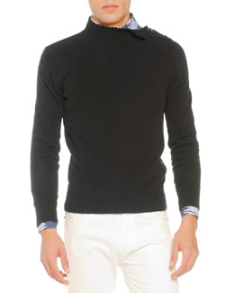 Tomas Maier Knit Sweater with Shoulder Buttons, Black