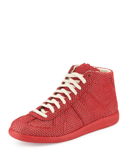 Maison Margiela Dotted Replica High-Top Sneaker, Red