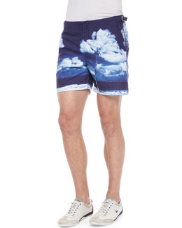 Orlebar Brown Bulldog Hulton Getty Print Swim Trunks, Navy