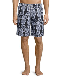 Vilebrequin Okoa Seahorse-Print Swim Trunks, Black/White