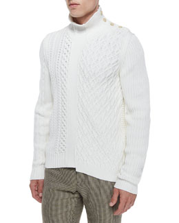 Maison Margiela Cable-Knit Sweater with Button Detail, Cream