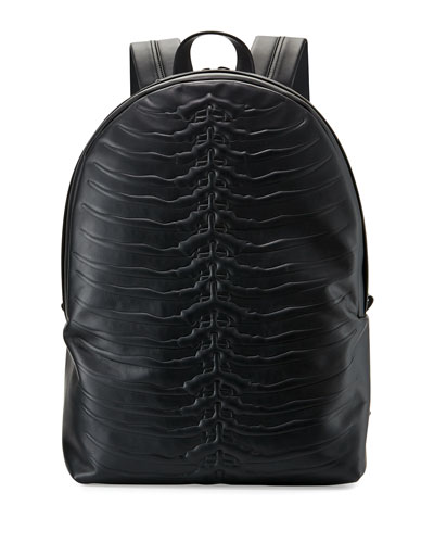Ribcage-Embossed Leather Backpack, Black