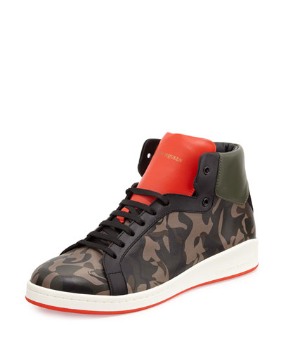 Printed Leather High-Top Sneaker, Camo