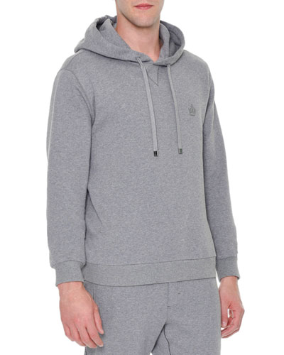 Crown-Logo Hooded Pullover Sweater, Gray