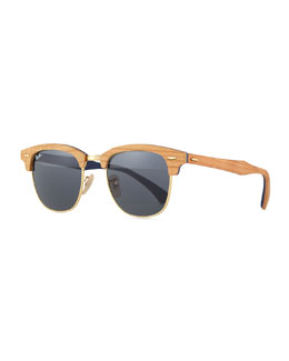 Clubmaster Wood Sunglasses, Blue