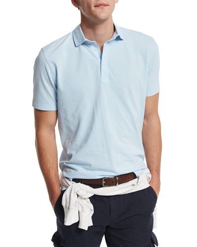 Short-Sleeve Pique Polo Shirt, Powder Blue