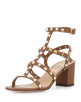 Valentino Rockstud Strappy City Sandal, Taupe