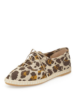 Charlotte Olympia Maria Leopard Linen Sneaker, Brown