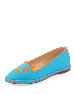 Charlotte Olympia Mexi-Cat Embroidered Flat Espadrille, Turquoise