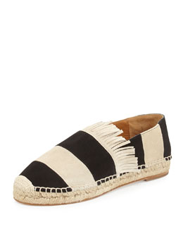 Chloe Striped Suede Espadrille Flat, Black