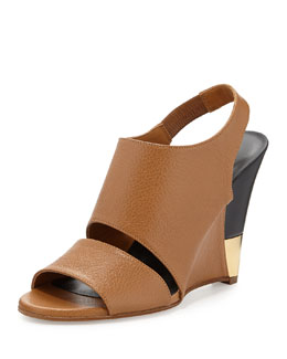 Chloe Tumbled Leather Slingback Wedge, Camel