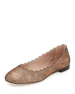 Chloe Scalloped Shimmer Suede Ballerina Flat, Pink
