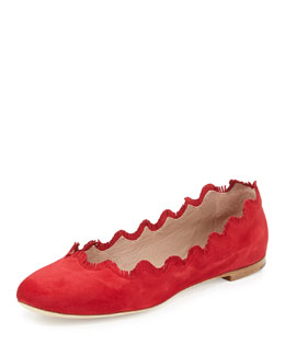 Chloe Fringe Scalloped Suede Ballerina Flat, Red