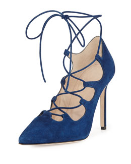 Manolo Blahnik Rogustta Lace-Up Point-Toe Pump, Blue