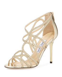 Jimmy Choo Layla Glittered Strappy Sandal, Gold