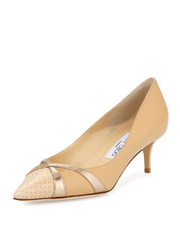 Jimmy Choo Hinder Leather Kitten-Heel Pump, Nude