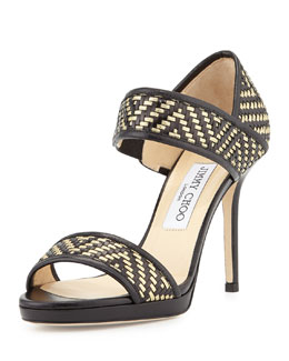 Jimmy Choo Alana Metallic Woven Sandal, Black/Gold