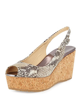 Jimmy Choo Praise Slingback Wedge Sandal, Neutral