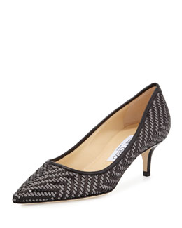 Jimmy Choo Aza Woven Leather Kitten-Heel Pump, Black/Anthracite