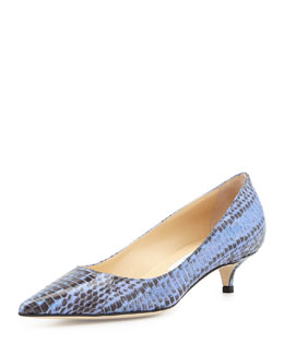 Jimmy Choo Amelia Snakeskin Pointy Kitten-Heel Pump, Blue